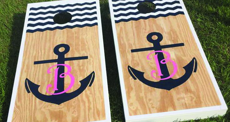 Cornhole Boards with Anchor and Chevron pattern