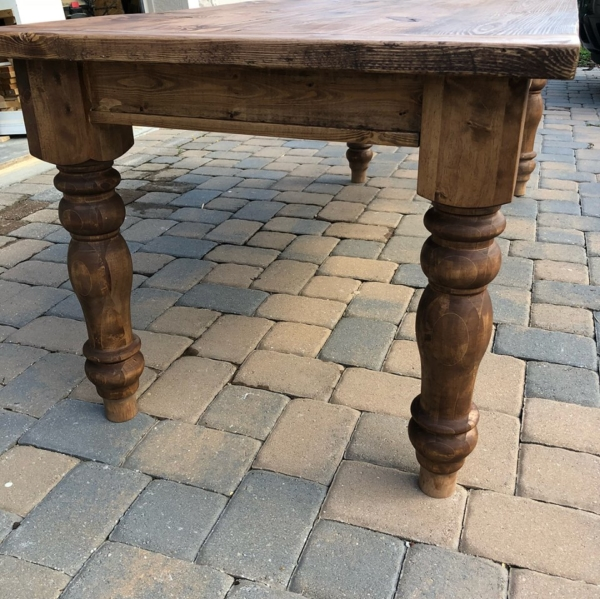 Side view of Kathleen farmhouse style table