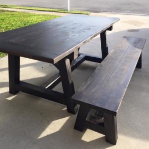Truss Beam Farmhouse table sitting on driveway